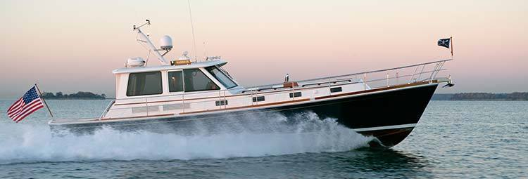 The Ray Hunt designed hull of the Grand Banks Eastbay line is seaworthy, efficient, and fast. Perfect for cruising on a tight schedule. You arrive sooner and with all the comfort and luxury of a traditional trawler.