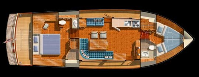 If you have guests or family aboard, this layout provides separation and privacy between cabins. Nice to have if you need it.