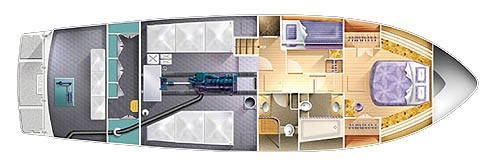Yet another layout shows accommodations forward and down from the main saloon level. Again, it seems this would work best for only occasional guests and the owners are able to utilize the guest cabin as an office or sewing room.