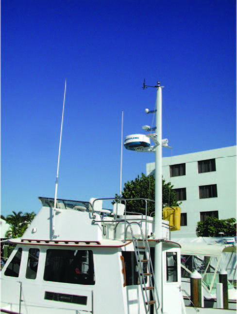 Outstanding antenna installation on this Legacy cruiser. Solid mounts on the VHF antennas mounted high with great separation. The radar is high and in the clear, and the GPS is mounted well clear of the radar.
