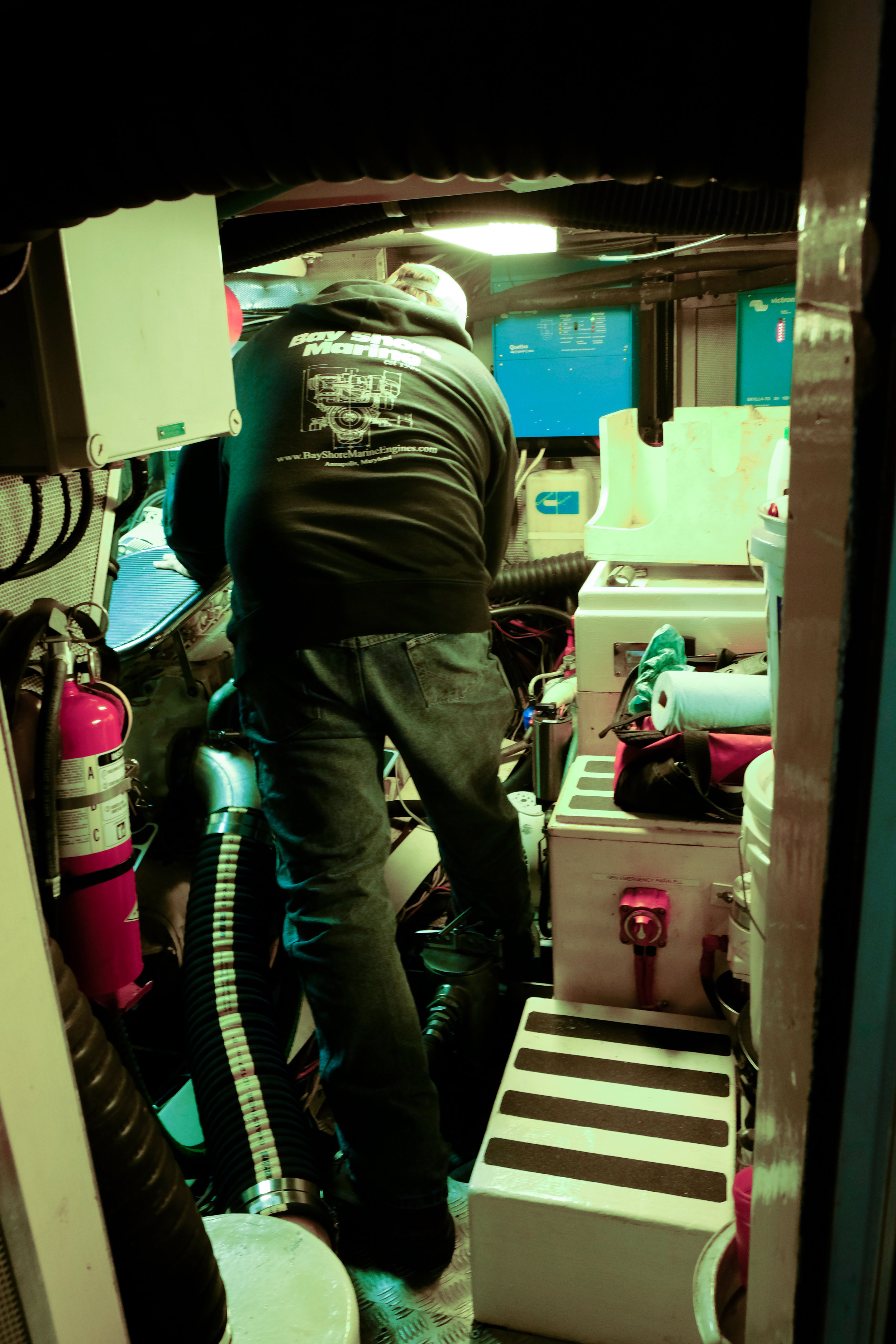 Jeff Leitch check fluids and later under way for any leaks or other abnormalities in the spacious engine room.