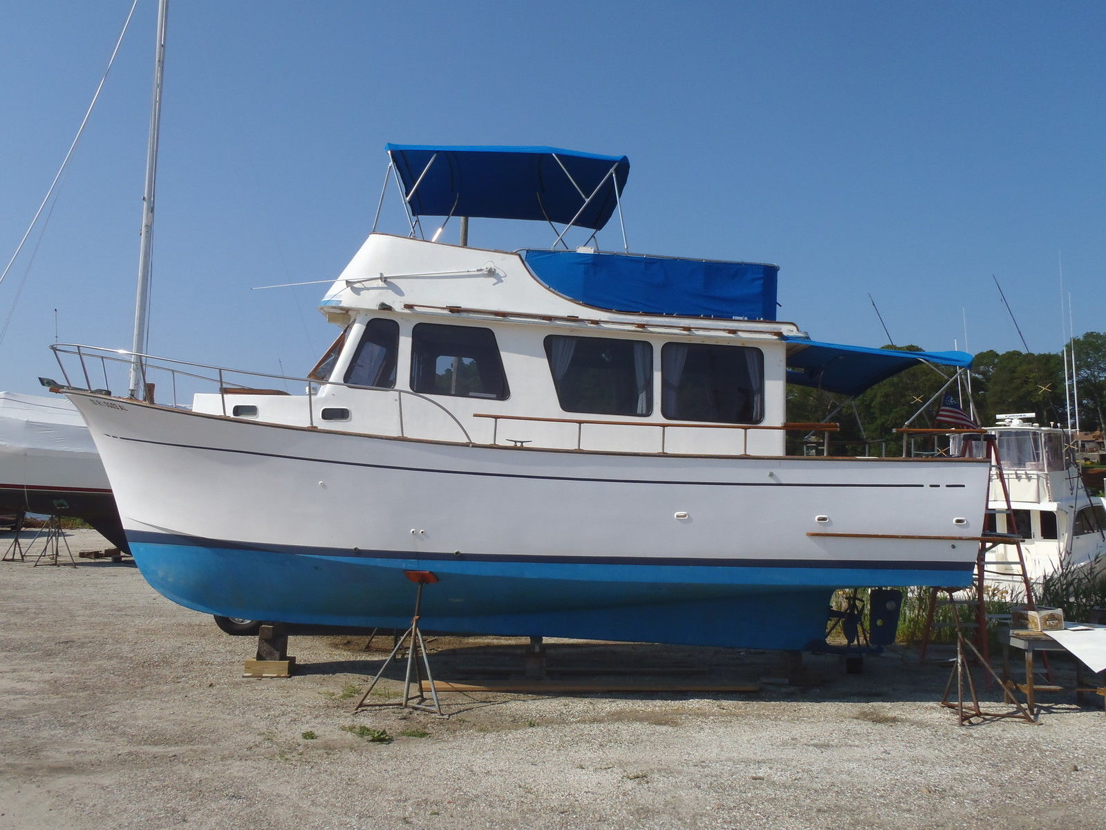 An older boat, such as this Marine Trader 34 Sedan, will probably have a few issues that a proper survey will identify.