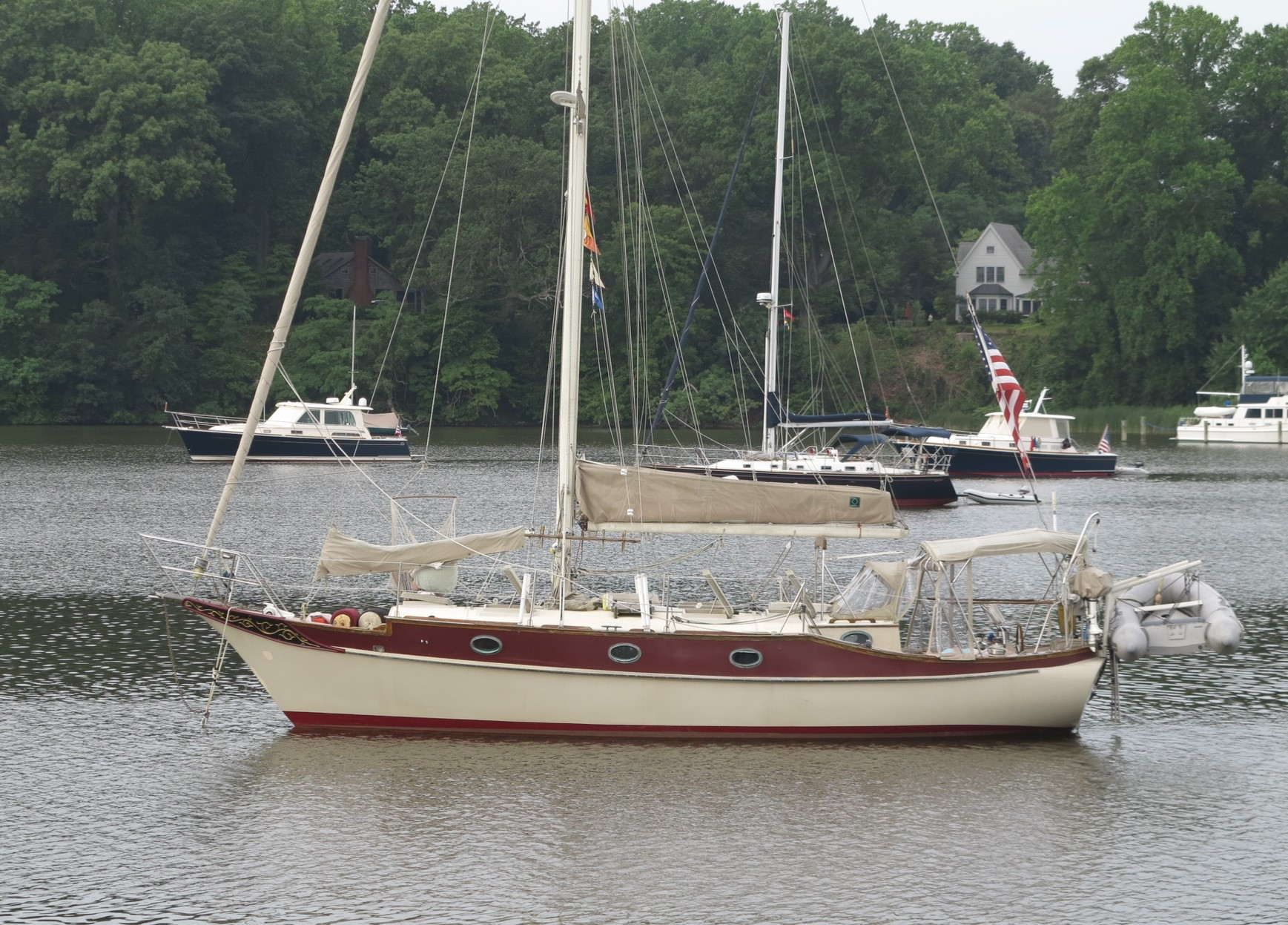 A cruiser with a properly set bridle that will stretch rather than tug at the anchor chain.