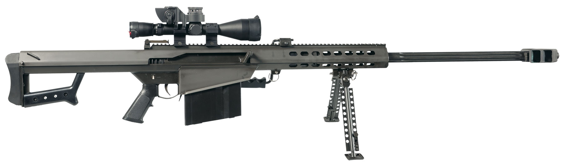 Our military uses the M82 Barrett rifle with great effectiveness to engage targets at long distances. It is an awesome weapon in the hands of a trained sniper team. It does not belong on a cruising boat.