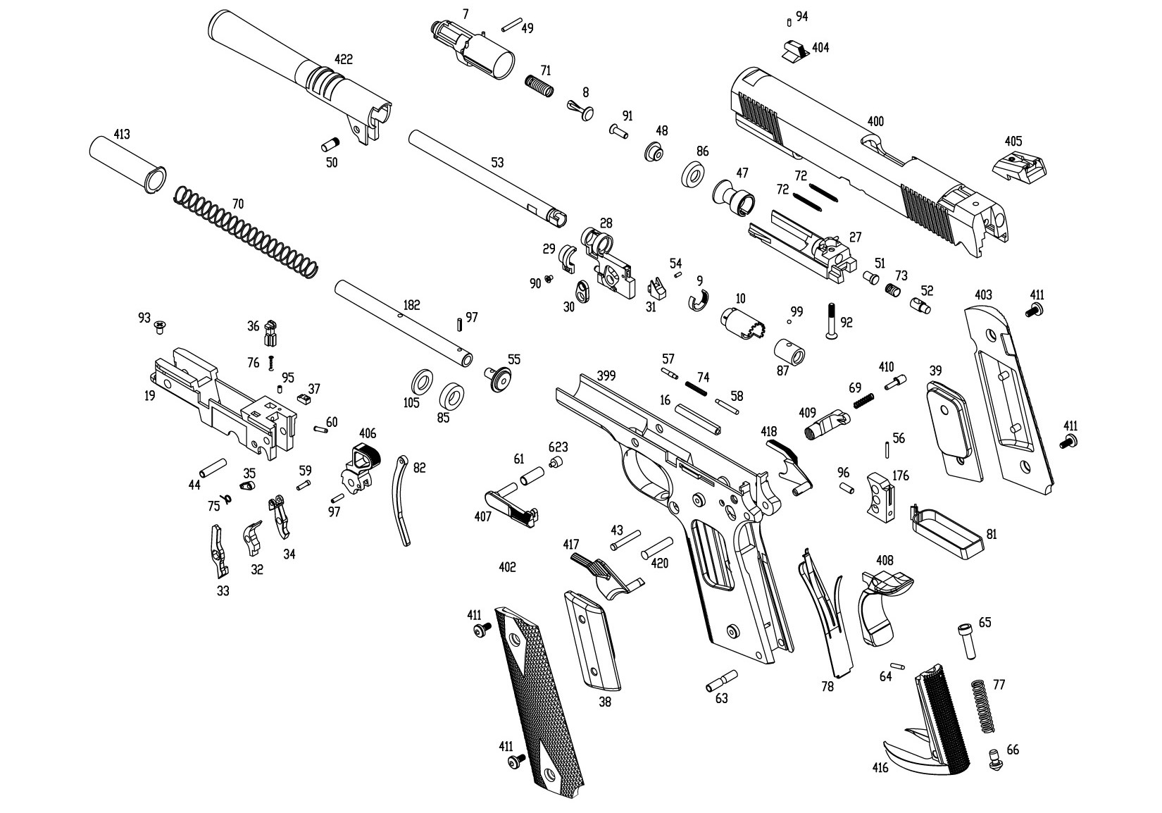 The .45 caliber 1911 is a favorite handgun, used in every U.S. conflict in the last 100 years. But look at the many parts!