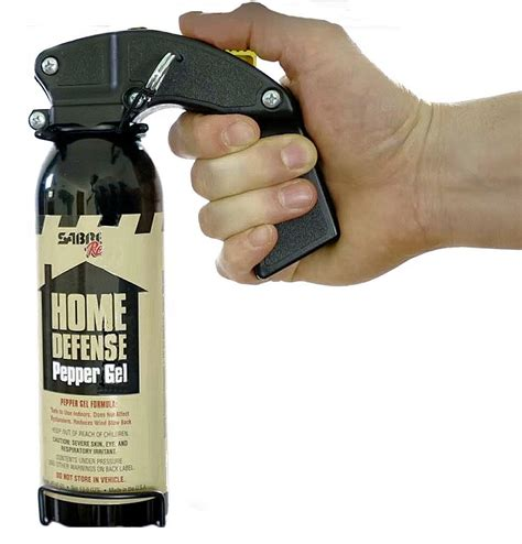 Sabre's Home Defense Pepper Gel is the latest technology, widely used by police departments. This particular model shoots out to 30 feet, will incapacitate a bad guy for 45 minutes, and has a four-year shelf life. In this image, he is holding the can in its mounting bracket