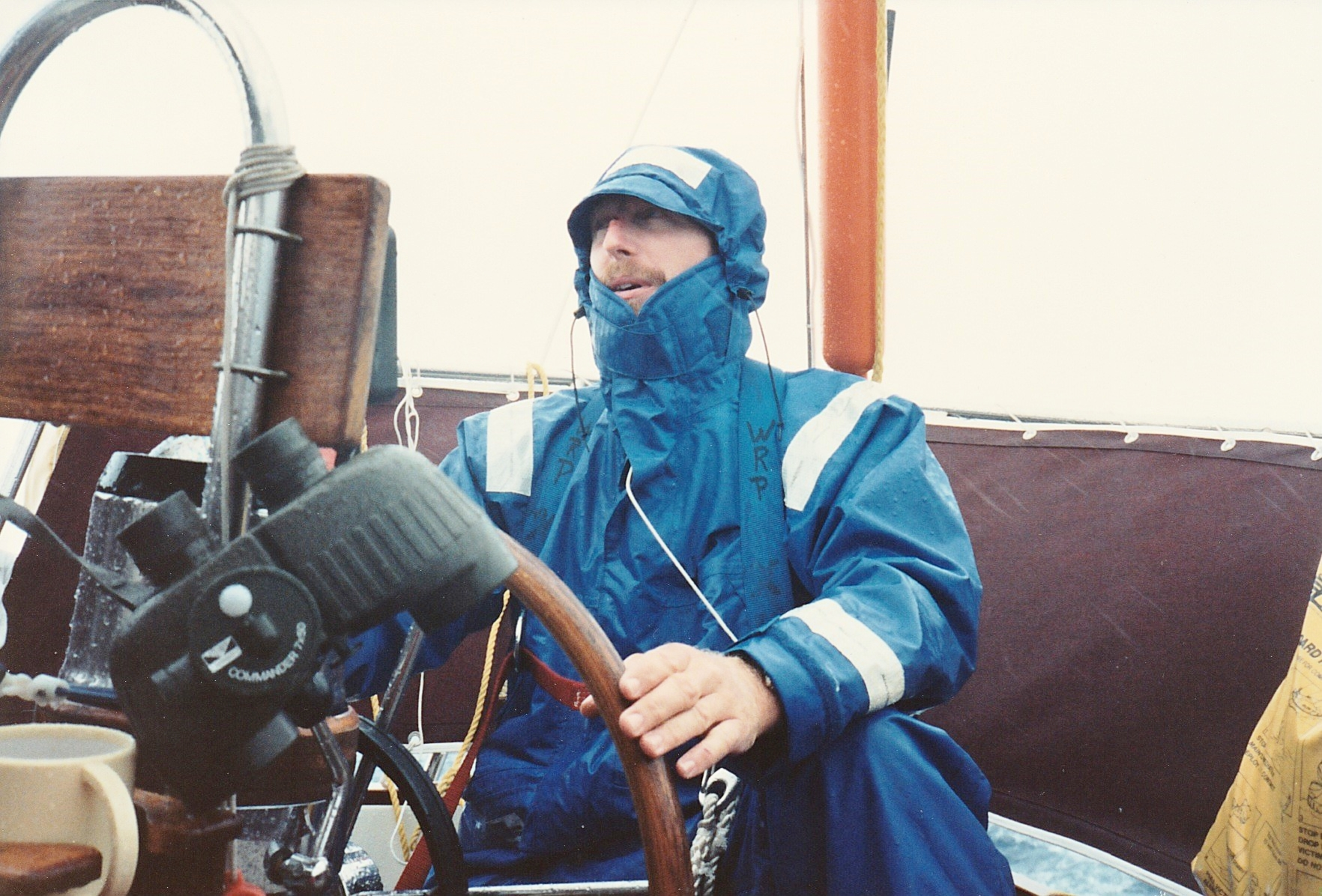 Many miles offshore in a storm, a much younger me learns how to handle a boat in such conditions and to keep things together and on course until conditions moderate,