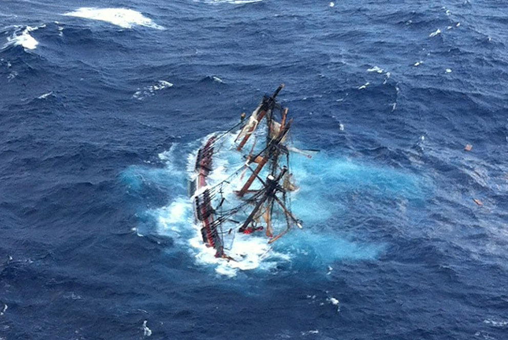 The  Bounty  settling into the sea after the hurricane, sinking with the loss of two lives. It was ruled an avoidable situation due to bad judgement.