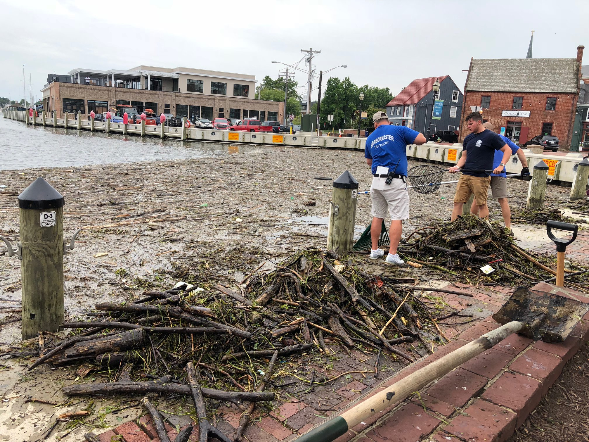 Annapolis City Dock (aka Ego Alley), full of debris from the Conowingo Dam lock opening. Out in the Bay, boaters must thread through hazardous debris fields of trees, tires, truck liners, and furniture. One would think they could filter this crap out but the flow of water went through the spill gates at more than 300,000 cubic feet per second. A mess for sure.