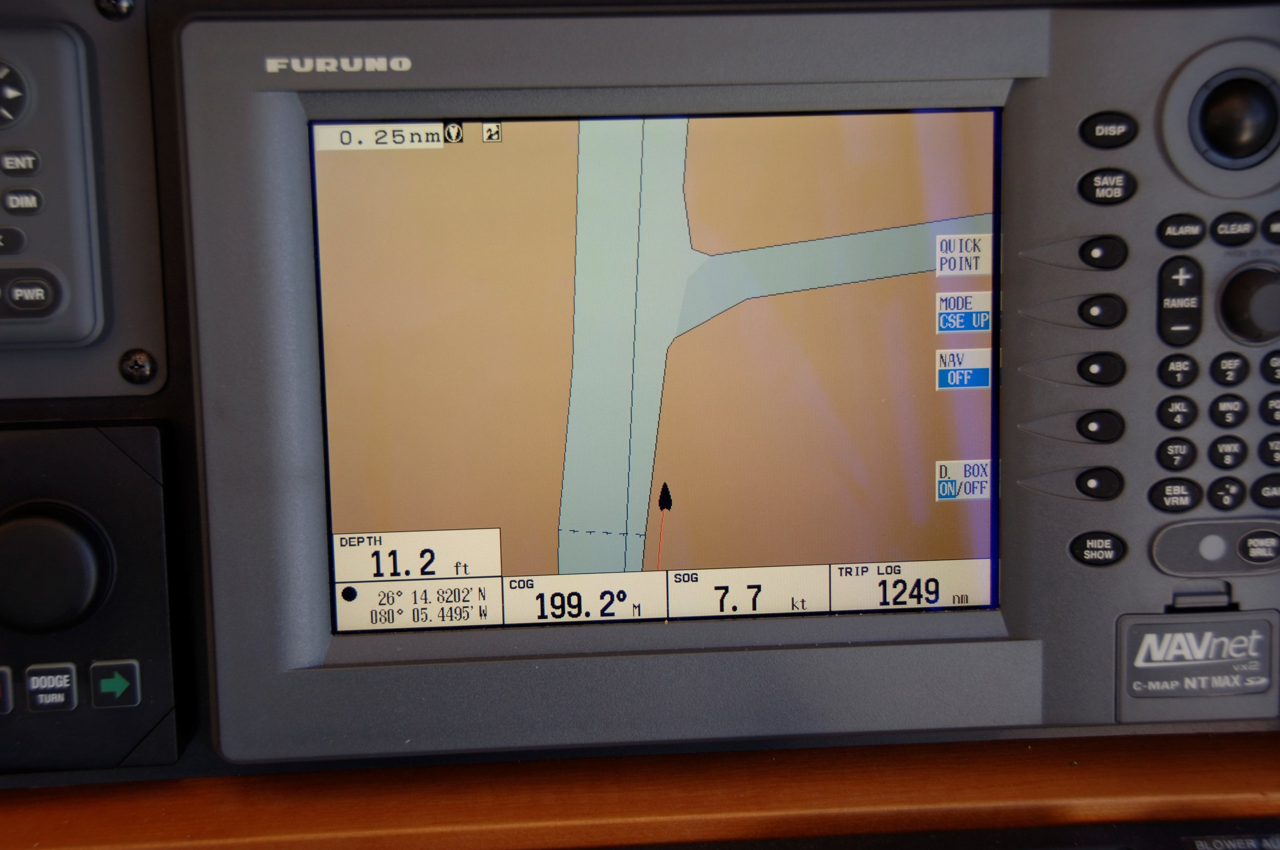 I include this screen shot of my Furuno plotter on  Growler  while running down the ICW near Miami. It is a great example of why one should NEVER rely on a single navigation device or app. Is the chart wrong or the GPS?
