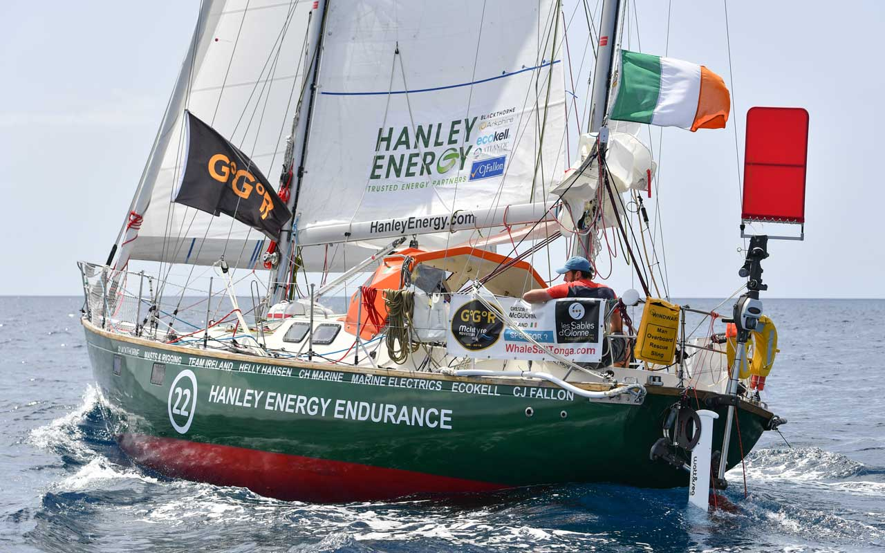 Gregor McGuckin was rescued in the Southern Ocean after his boat was rolled and damaged too far from land to continue on.