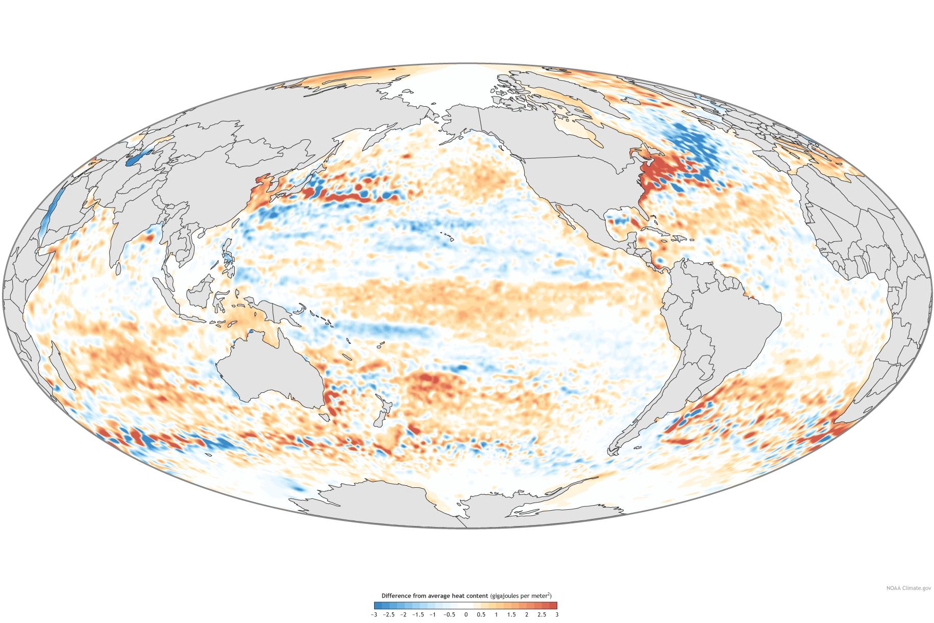A NASA map of Ocean Heat Content.