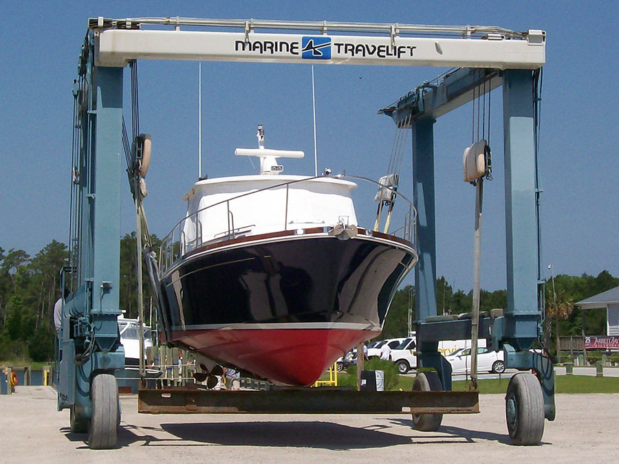 A haul out at Jarrett Bay Boatworks in North Carolina, a highly regarded yard, well known for quality work.