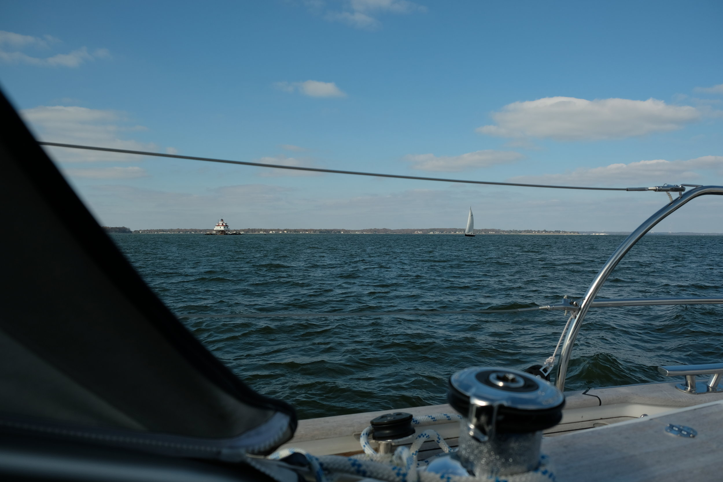 Sailing past Thomas Point Light on our way down from Annapolis.