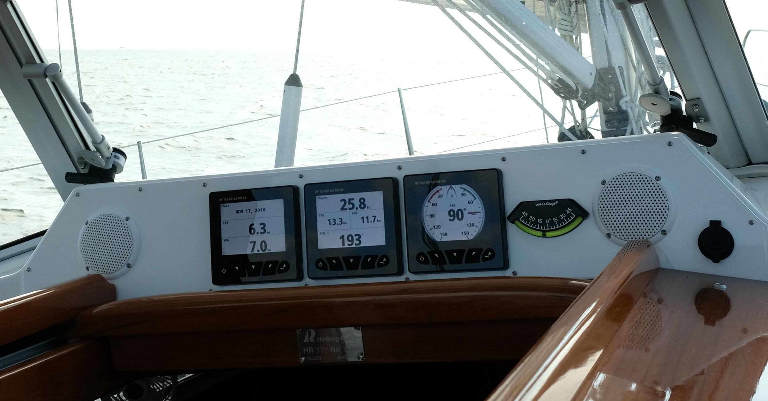 The full main and Code Zero were effective in this beam wind, and we sailed along at 7 knots. Not too shabby!