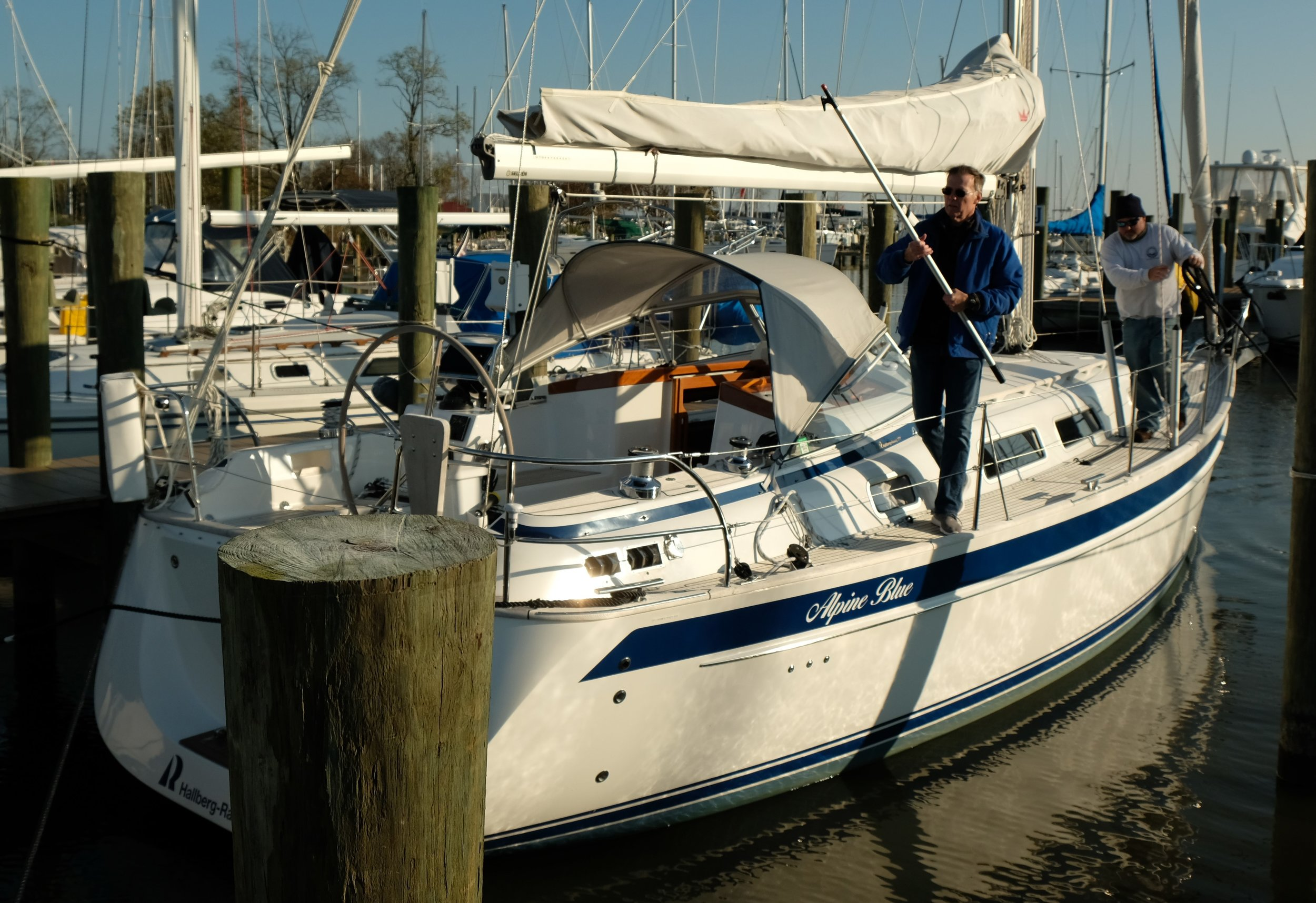 We got into a slip on K Dock for a day or two before the Swedish Hallberg-Rassy 372 is hauled for the winter, near the offices of Free State Yachts, the HR dealer in this part of the world.