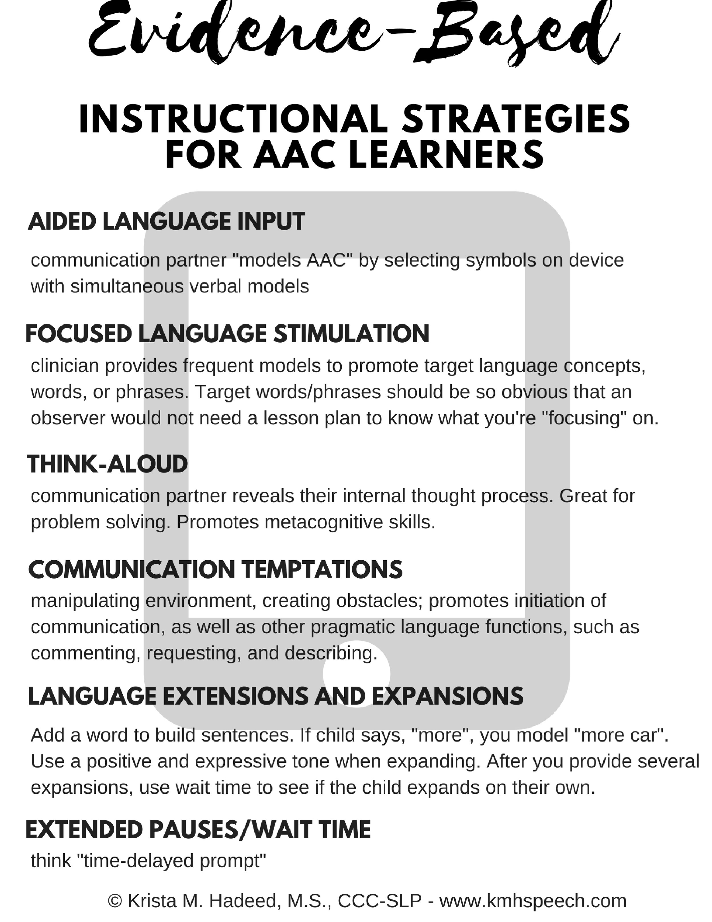 Here's a link to download this file in PDF format...  Evidence-Based AAC Strategies