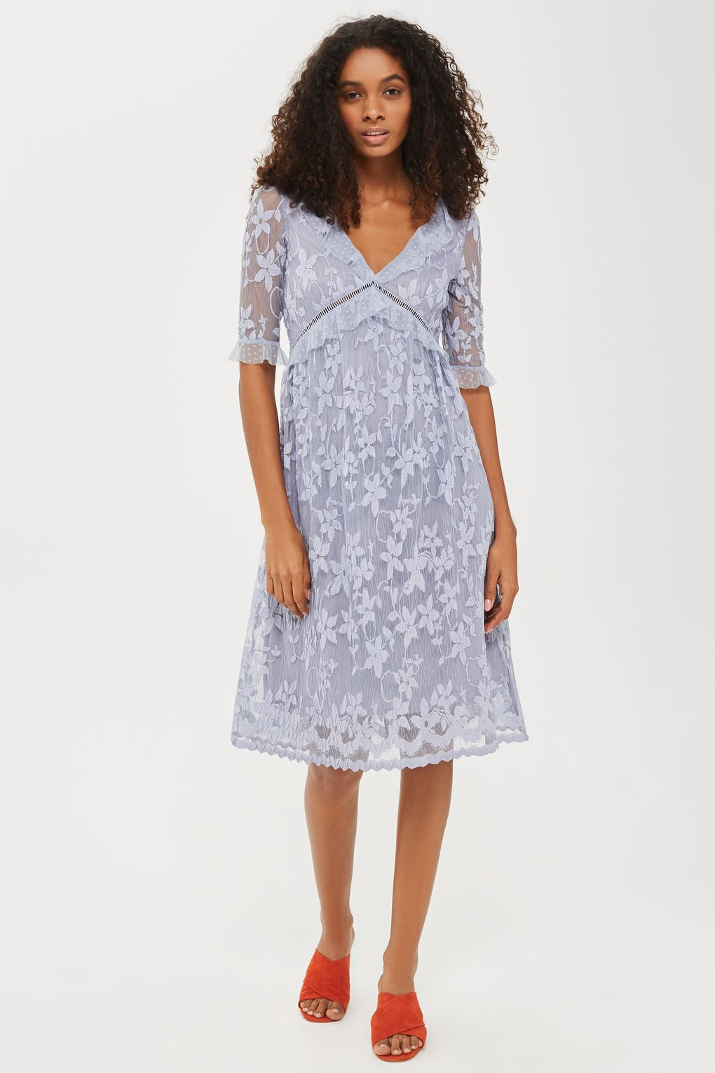 Flute Sleeve Lace Midi Dress  from Top Shop - $80
