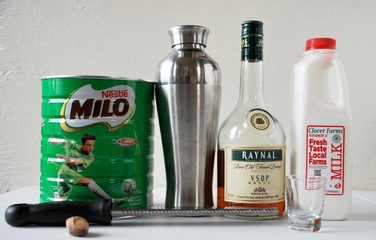 Venus De Milo - 1.5 oz Brandy.50 oz Cherry Heering2 oz whole milk1 heaping tablespoon MiloFresh NutmegCombine with ice, shake, strain, and serve. Garnish with a scrape of fresh nutmeg and a maraschino cherry.