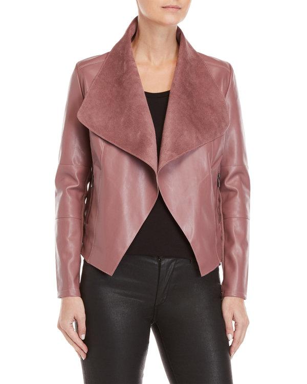 Faux Leather Open Jacket - $39.99