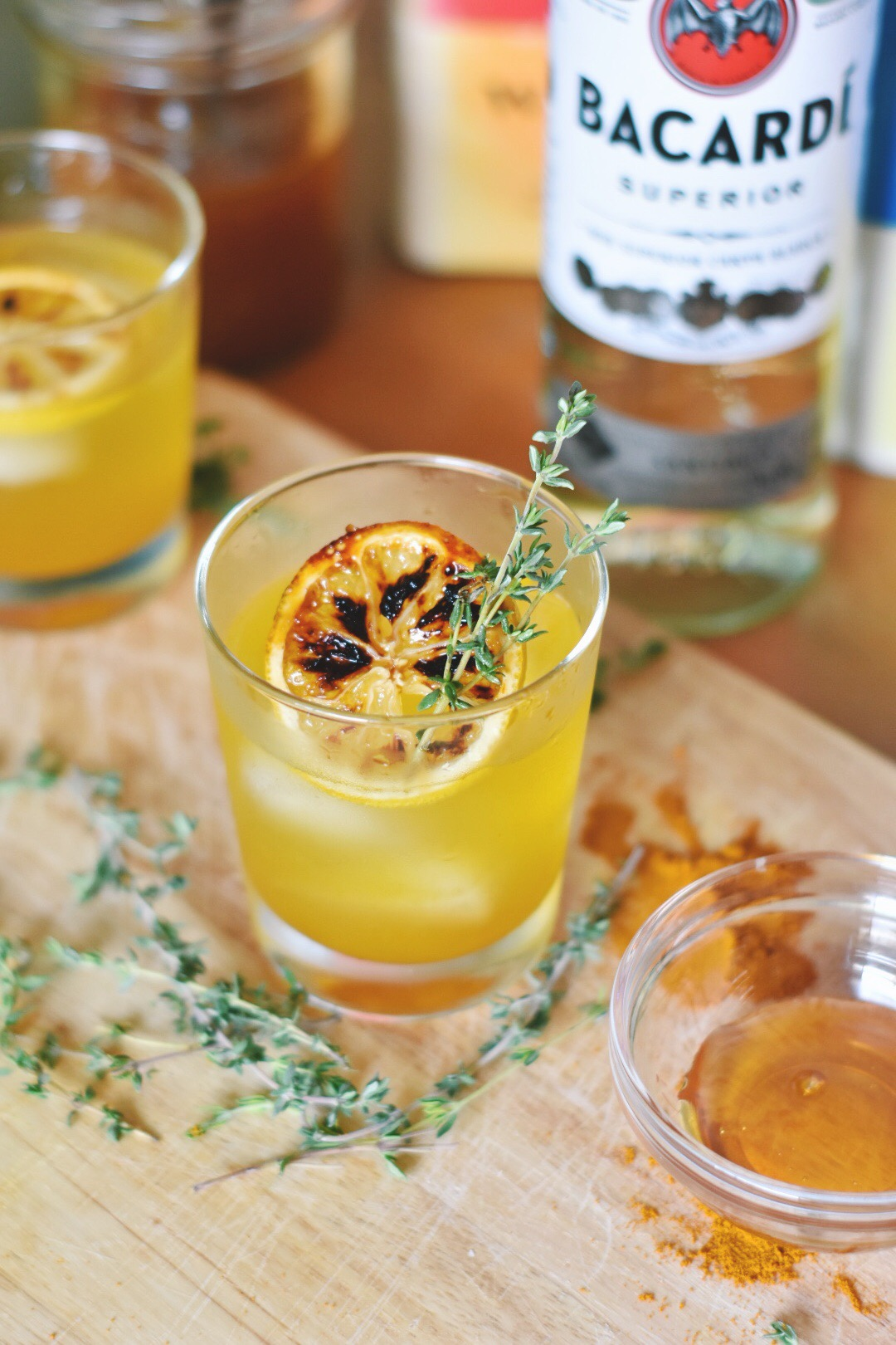 A Honey Turmeric and Honey Rum Cocktail perfect for that little tickle in your throat.