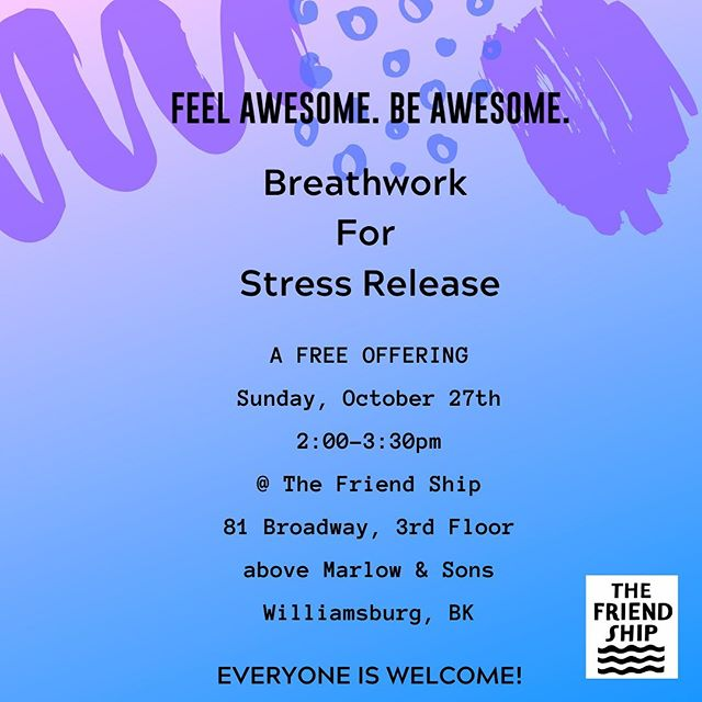 I'm pumped to offer a FREE class this Sunday 10/27!!! I talk about breathwork a lot here. It's one of my favorite modalities for stress and anxiety because it had helped me in big ways and I've had the honor of helping guide other people to help heal themselves. It's powerful stuff, all accessible through breathing!  If you'd like to join on Sunday, please sign up with the link in my bio. If you are curious and have questions, DM me or hit me up via email.  This class welcomes everyone. You'll be lying on a mat, shoes out, eyes closed, listening to music, and receiving guidance and instruction for me. But ultimately, you and your breathe will make the magic happen! . . . . . #feelawesomebeawesome #breathwork #healyourself #breathe #free #community #youarenotalone #stressrelief #anxietyrelief