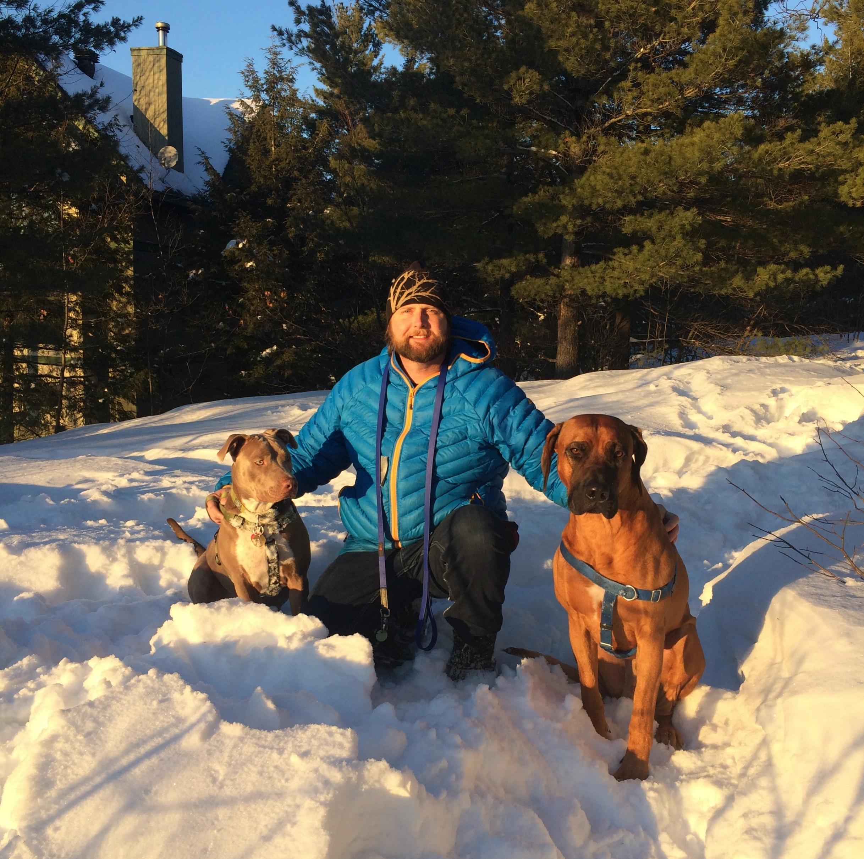 Jonathan and his dogs Maeby and Burley