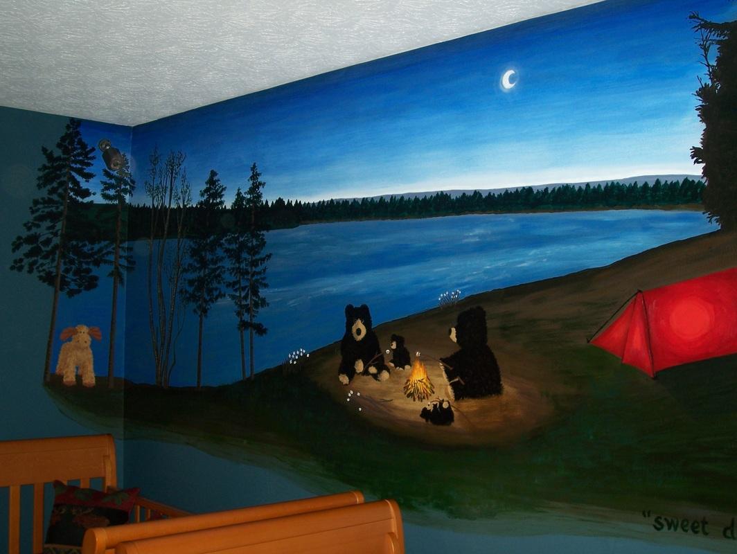 campfire nursery mural