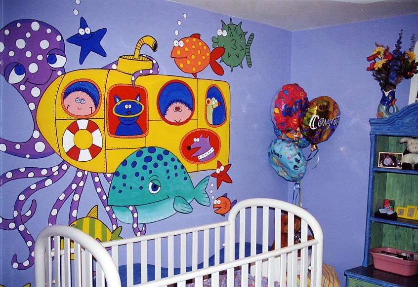Yellow Submarine Nursery Mural