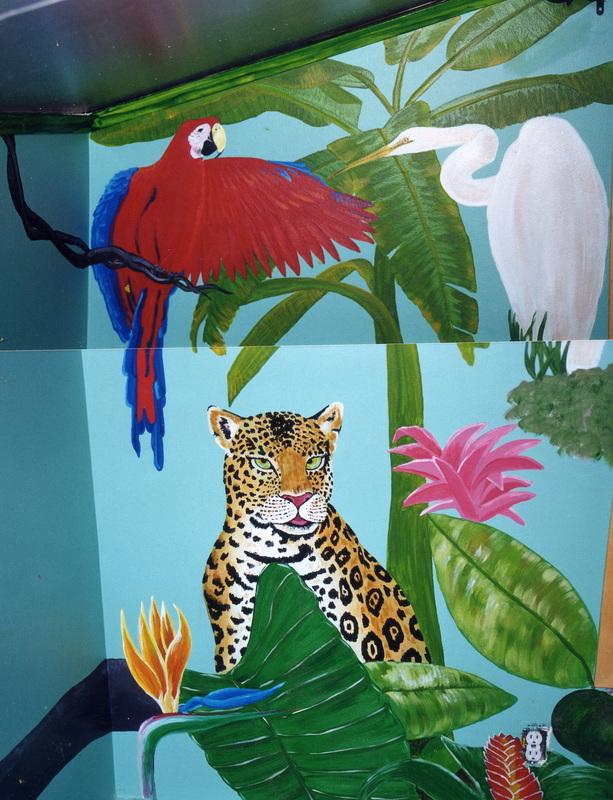 Leopard in the jungle mural