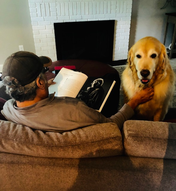 My Brother Mark and The Big Dog Bentley share a moment of repose during a 2018 summer visit.