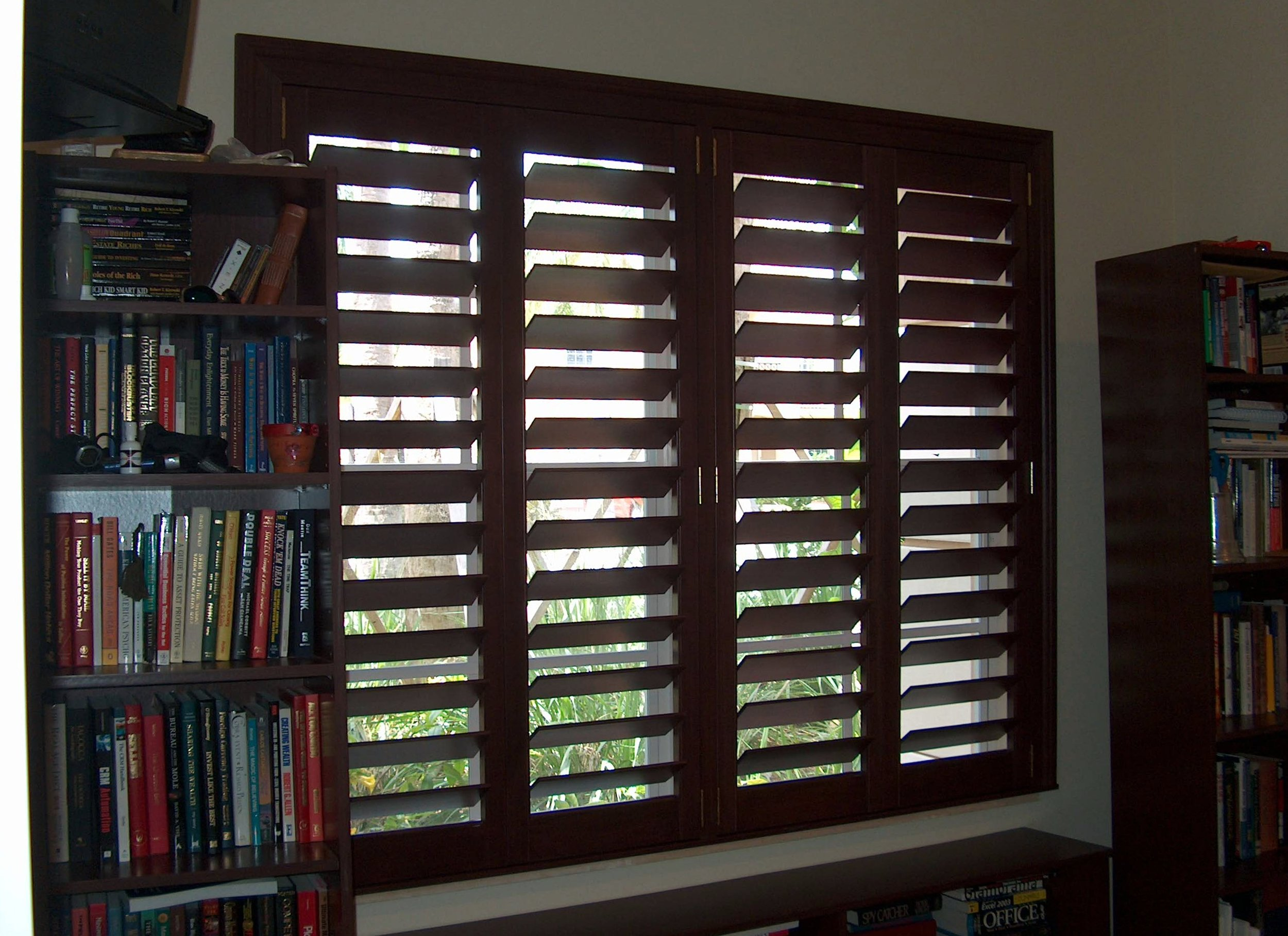 Stained Mahogany Basswood Shutters