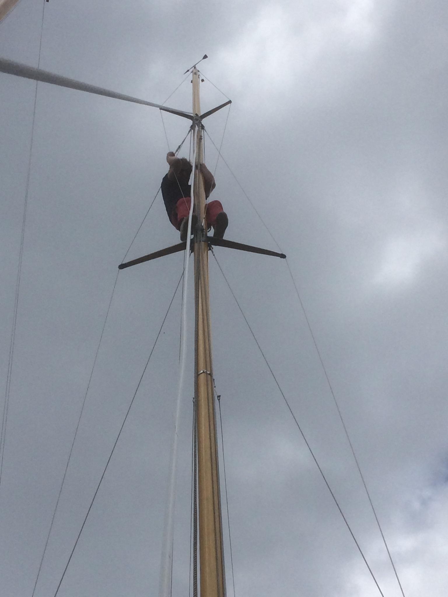 Paul im Mast bei der Fockfall-OP.JPG