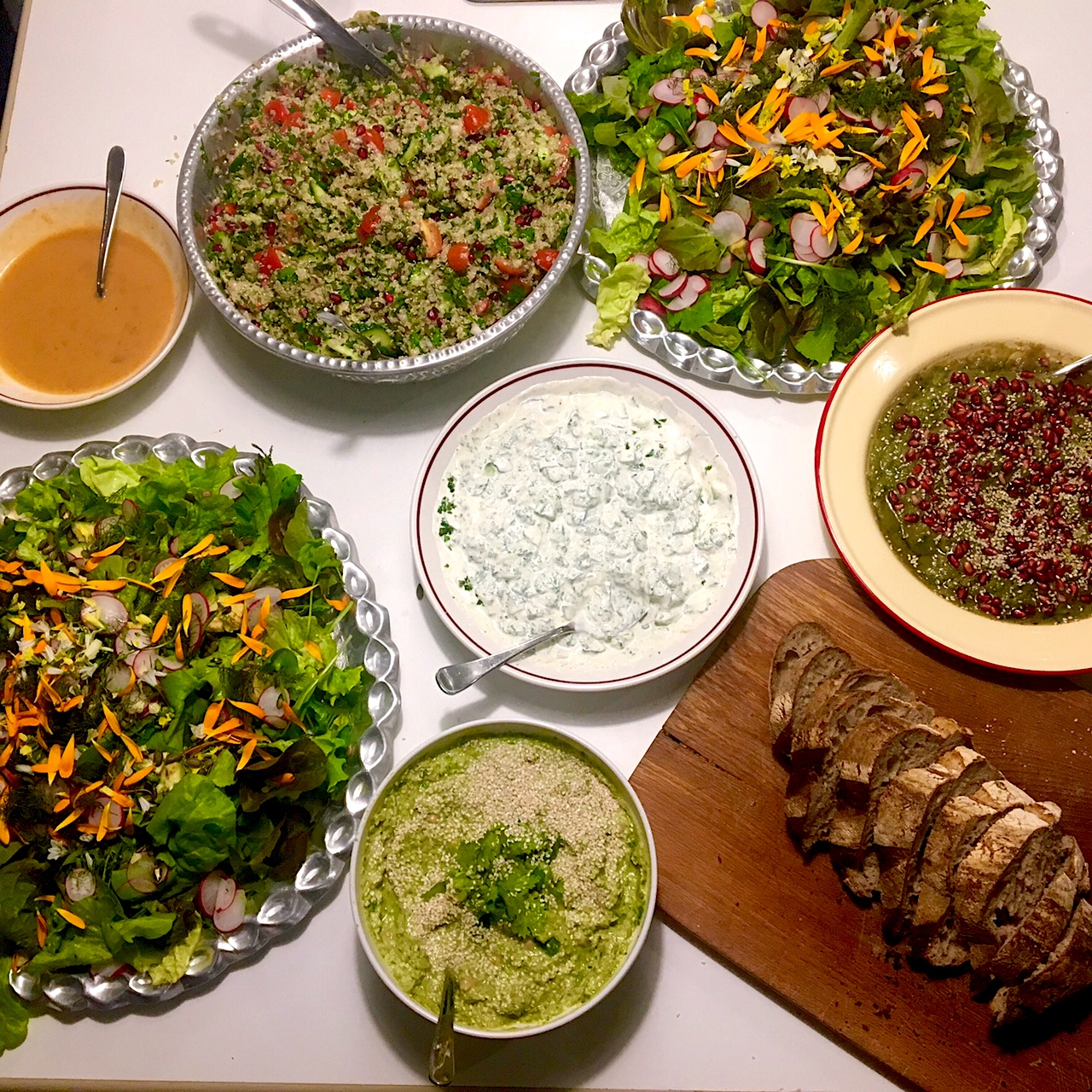 The Lebanese style feast we rustled up using lots of veggies and herbs from the Ballymaloe garden.