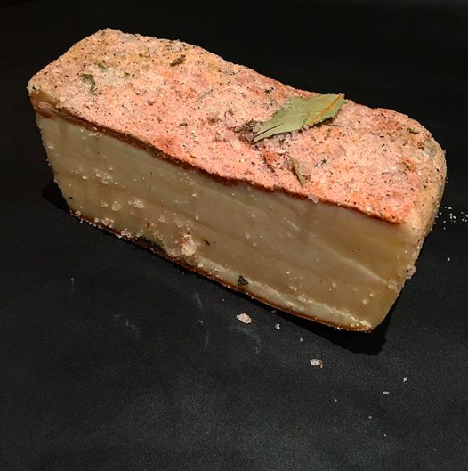 Sept 26, 2017 - I've had this beautiful piece of lardo sitting in my fridge since I went to Italy in January and it's still going strong. I made a carbonara last night and fried off a few pieces of this to go in it. I rinsed it quite thoroughly beforehand as it's covered in salt, but it's great because you can rinse it to your own taste preference! I just think it's almost magical how this can sit for so long, so perfectly preserved and taste so good.
