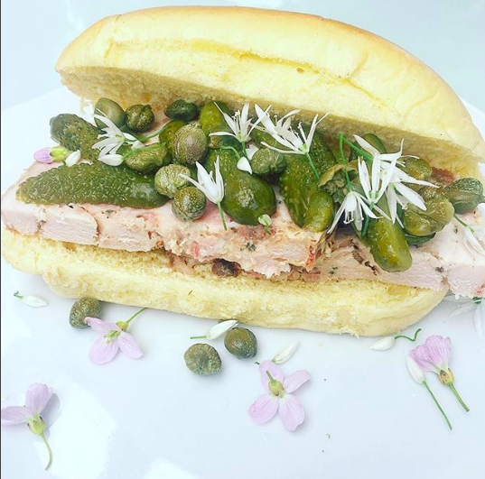 Apr 14, 2017 - This is what we're talking about. Homemade pork terrine in a brioche bun, loaded with cornichons and capers and scattered with wild garlic and lady's pocket flowers. Perfect lunch to chomp on whilst cooking ready for the rest of the Easter Weekend!