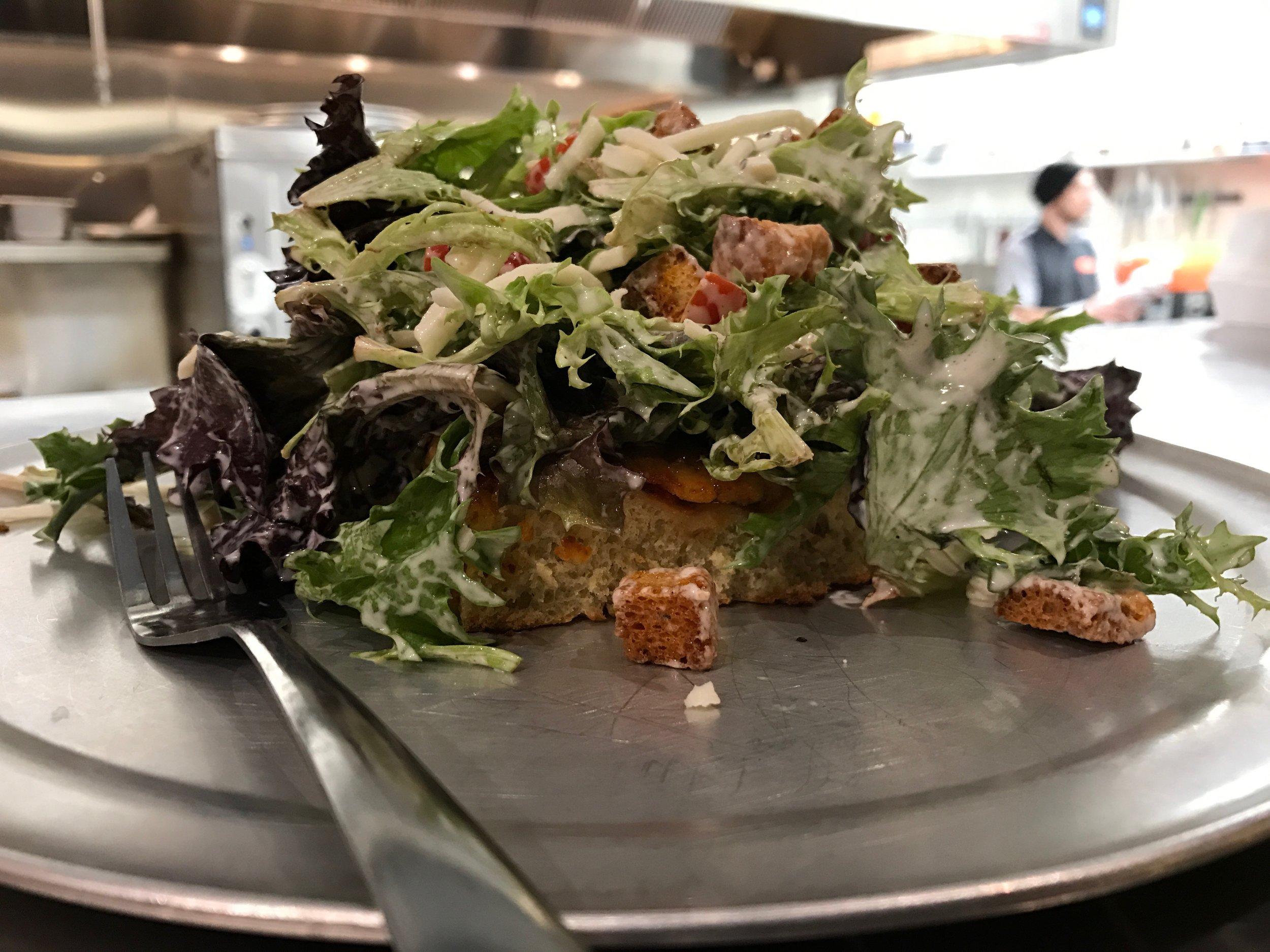 house salad on a sicilian slice