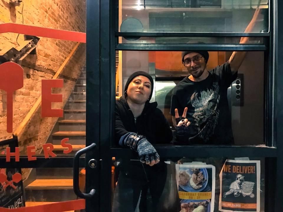 Sara, Brandon & our late nite pizza window