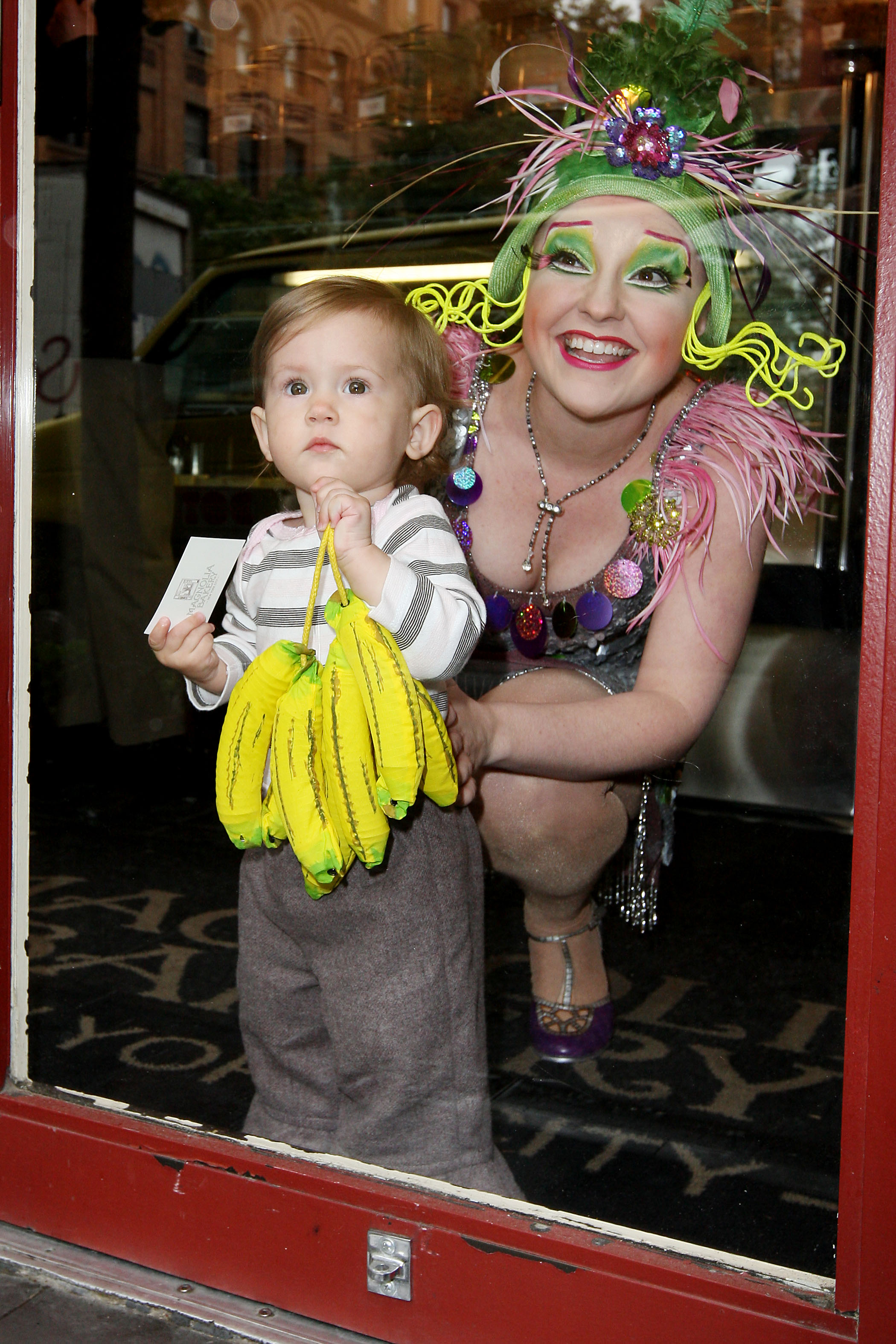 Melissa Schott promoting Cirque du Soleil's Bananna Shpeel at Magnolia Bakery in New York City.