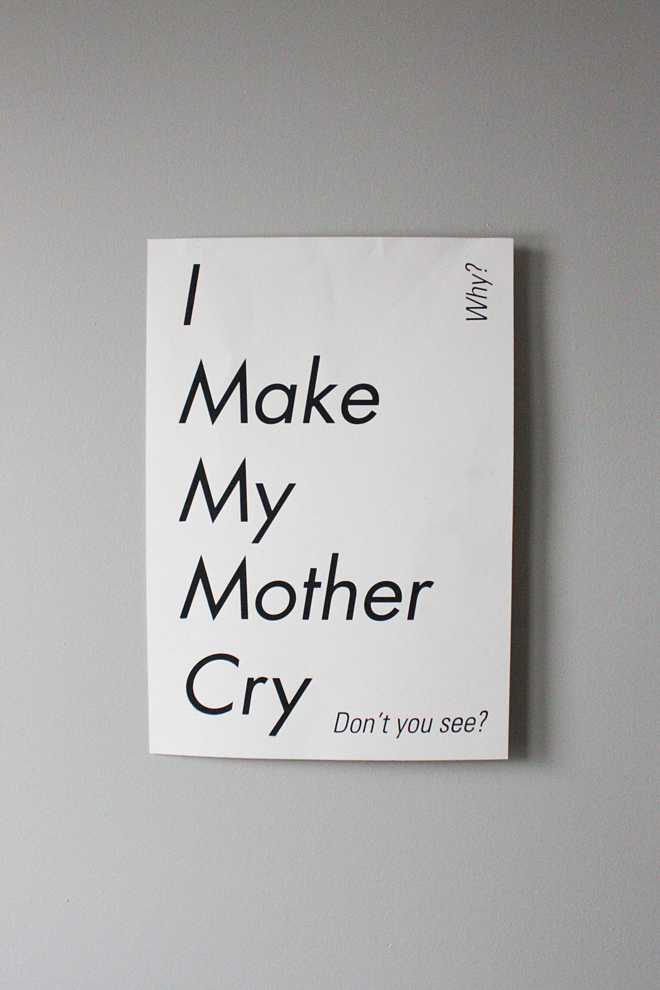 """I Make My Mother Cry""  Printed on French 100 pound Speckletone True White.  I can't help that she's ashamed of me.  Screenprinted by hand at Ocelot Print Shop in Midtown Detroit.  2017."
