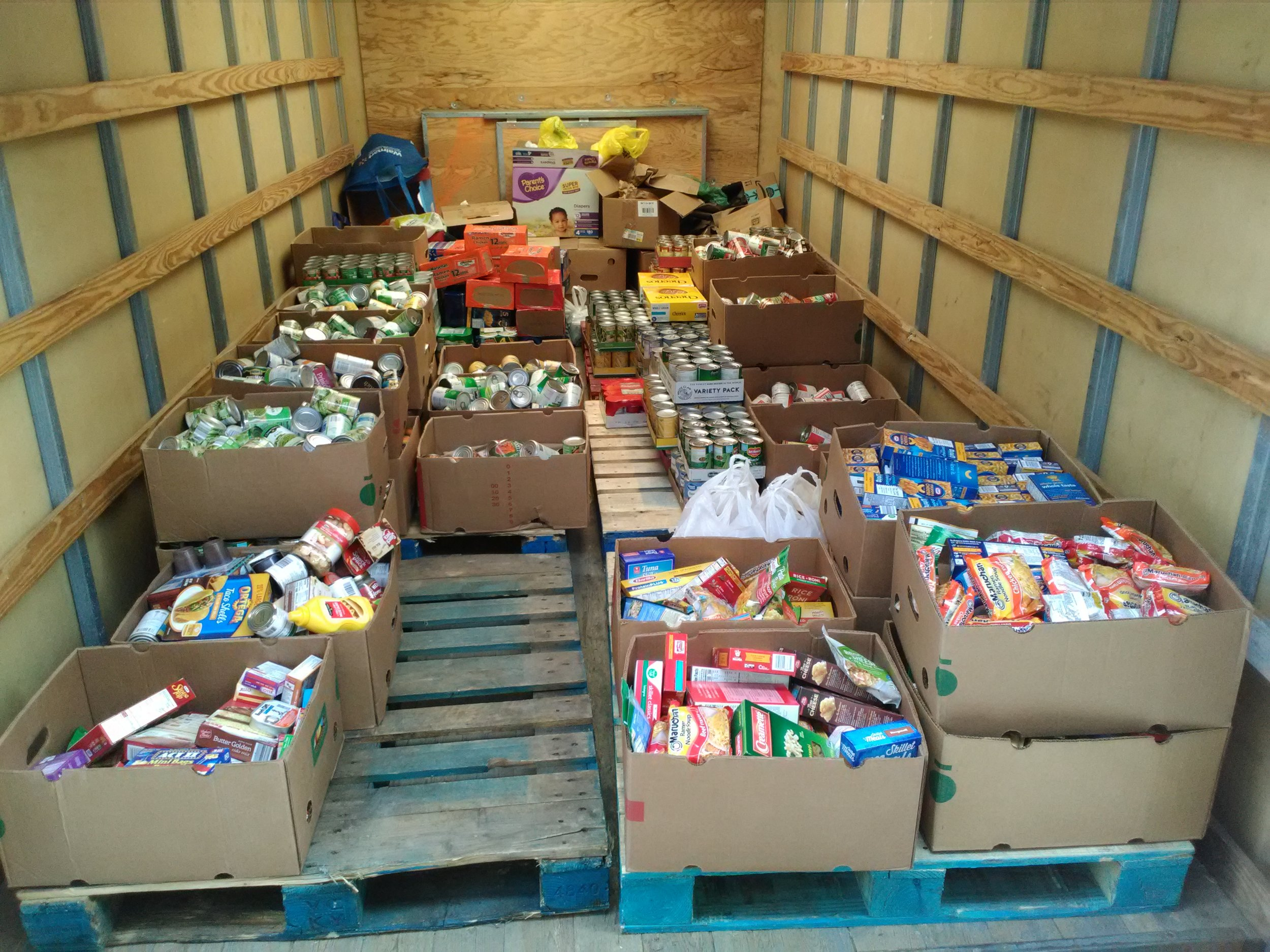 The Vesper Volunteer Fire Department collected food at their annual Sportsmen Dinner.  The donations pictured above came to 2171.5 pounds of food.  These donations will greatly impact those we serve.  On behalf of those whose lives will be impacted, thank you to all those who had a part in making this donation happen.
