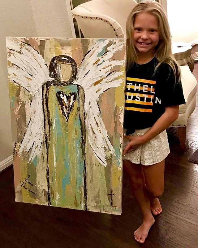 """Teach me your ways, O Lord, that I may live according to your truth! Grant me purity of heart, so that I may honor you."" Psalms‬ ‭86:11‬ ‭NLT‬‬ ""Purity of Heart"" came forth onto the canvas while painting during worship recently at Bethel Austin.  This beautiful daughter was celebrating her 11th birthday and her parents surprised her with this angel painting!  Her Mom wrote me, ""Thank you for the spirit filled art. Valeria loved it so much.It was an amazing surprise for her when we walked (in) with it yesterday evening."" Time after time I watch God write beautiful stories with my art. This is no exception. The title of this painting was named from Ps 86 before I started painting. I knew her name. And God knew the angel painting would symbolically guard and stand watch over this child of God. Double tap if you can see God in your story. He is writing it!! I pray a release of even more of God's goodness over you and yours.  I bless you today with new ways to honor God as we purify our hearts and learn His ways. He is teaching us!  You can see lots of my new art, retreats, e-course (""100 Days Creating With God"" —Open only until 8.19.19)  and mentoring in the link in my profile. Be blessed, dear friends! . . . . . #sarathurman #purity #guardianangel #createdtocreate #actsoneeightblessings #birthdaypainting #propheticworship #livepainting #inspiringart #artistatwork #luxuryart #acrylicpainting #buyart #artcollecting #contemporarypainting #emergingartist #theartlovers #bigart #artcollector #paintingprocess #ontheeasel #artabstract #artforyoureveryday #decorcrushing #originalart #artinprogress #todaysartreport #bethelaustin"