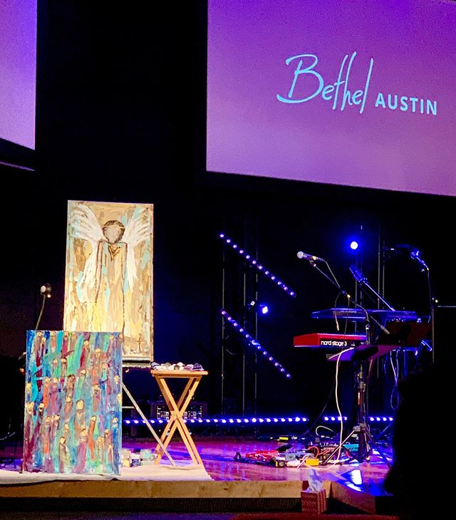 """The Presence of Jesus. Nothing greater. Everything is better with Him in the room.  Two paintings came onto the canvas during our one year celebration of our amazing church @bethelchurchaustin.  The Presence of Jesus brings joy and a safe place in the storm. These two paintings came onto the canvas while worshipping and  painting during our celebration weekend service on Friday night. """"You hide them in the shelter of your presence..."""" Psalms 31:20 NLT  """"...In Your presence is fullness of joy; ..."""" Psalms 16:11 NASB Hey, if you are in the Austin area and looking for family, come visit us on Saturday nights at 6 pm. Joy and safety will be discovered in His Presence.  In the meantime, just know Jesus is waiting for time with you. Sing, paint, sit still, take a walk, journal, read the Word. He is waiting. Will you join me in seeking His Face? His  Presence? You are loved dear one and seen by God Himself.  Double tap for some love!😘✝️❣️😇and please comment below for which one you like best: """"Shelter"""" is large single angel & """"Joy"""" is multicolored saints and angels. 😇😇😇😘"""