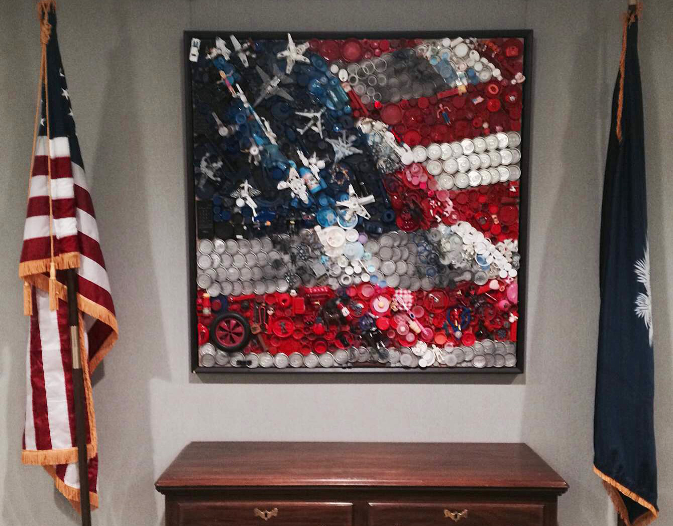 "Kirkland Smith's  ""Disposable America"" , 2009 in The South Carolina Department of Commerce Winter 2014 exhibition  Carolina Consciousness."