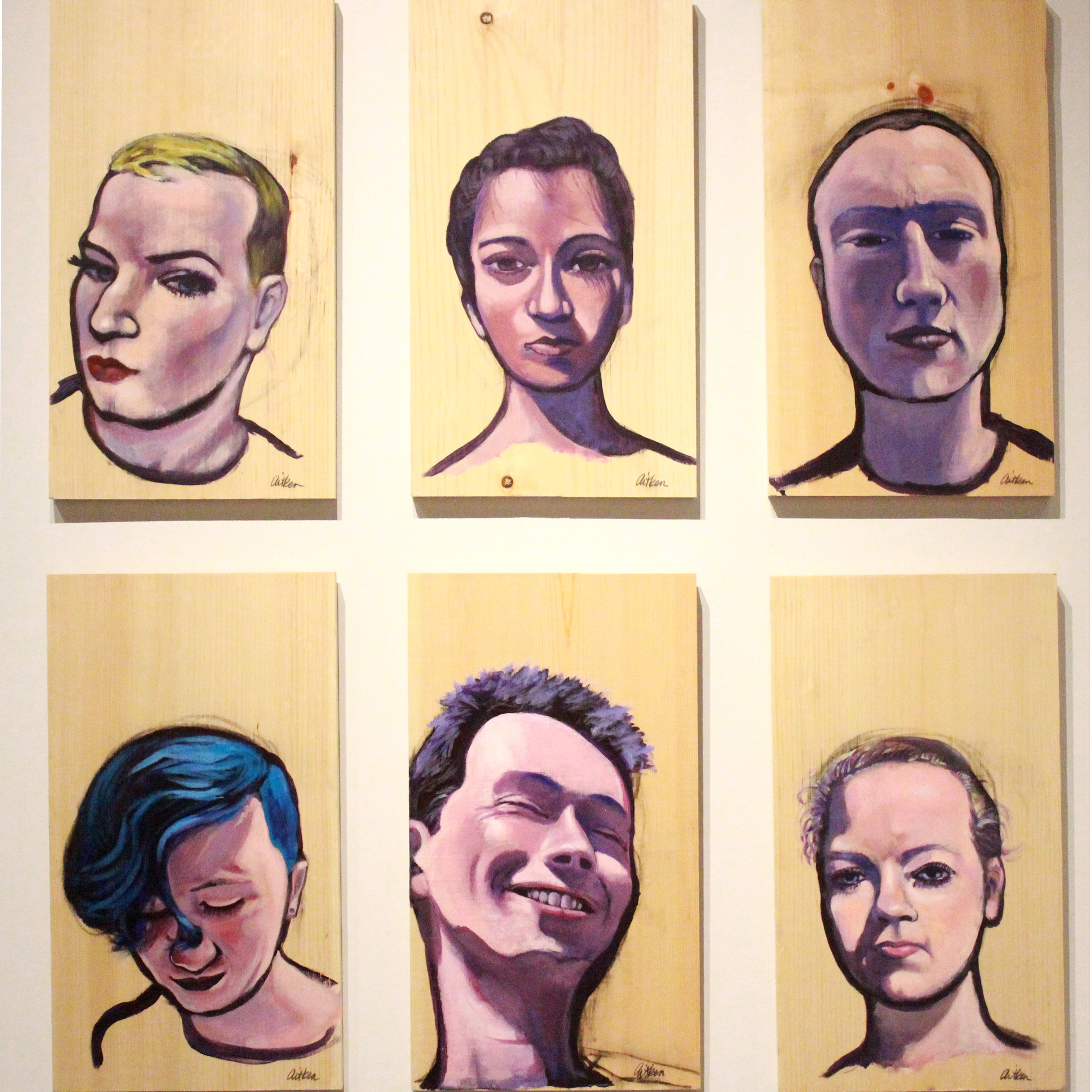 Christy Aitken Will (Marine), Ahelia(Surgeon, Ben(Atheist), Bo(Hairstylist), Emily(Plumber), Maddie(Non-Binary Teen) <br>2016 <br>Acrylic on wood <br>11 x 20 inches <br>Retail value: $400