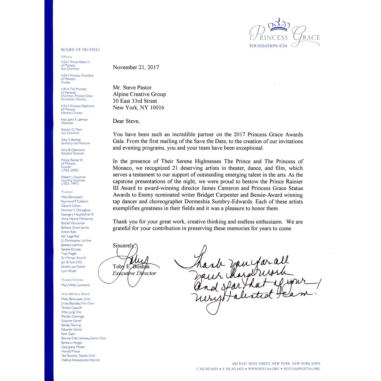 Letter of appreciation — Princess Grace Foundation-USA