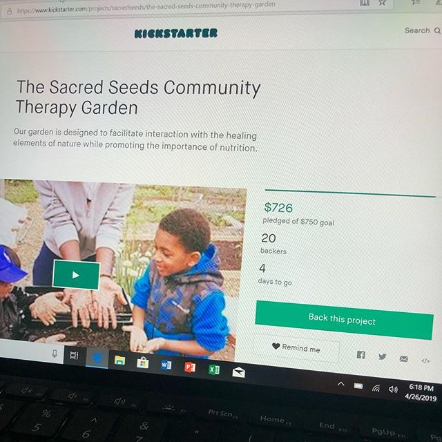 Almost there!! We have FOUR more days to raise money for our first therapy garden!  Links in the Bio!  #sacred #seeds #therapy #garden #growtogether #strive2thrive #donate #kickstarter #crowdfunding #friday #explorepage #philadelphia