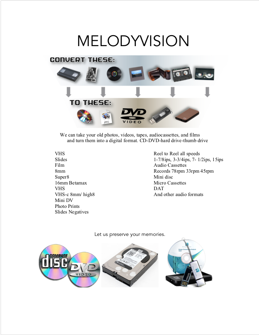 Please contact us for pricing 610 941 9300.    For shipping: Please include a list showing how you would like each tape labeled when converted to a file.     Our shipping address is     Melodyvision    2501 Butler Pike     Plymouth Meeting PA 19462
