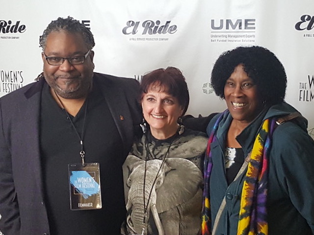 "At the recent 2019 Women's Film Festival of Philadelphia, Jessica Dimuzio, VMD of Nature Tales and Trails, Executive Producer , writer and co-director of ""African Animals' Lullaby"" (center) is seen with Rodney Whittenberg of MelodyVision, the co-director , editor , sound designer and composer; and narrator Charlotte Blake Alston. (Photo by Dr . Tim Halverson)"