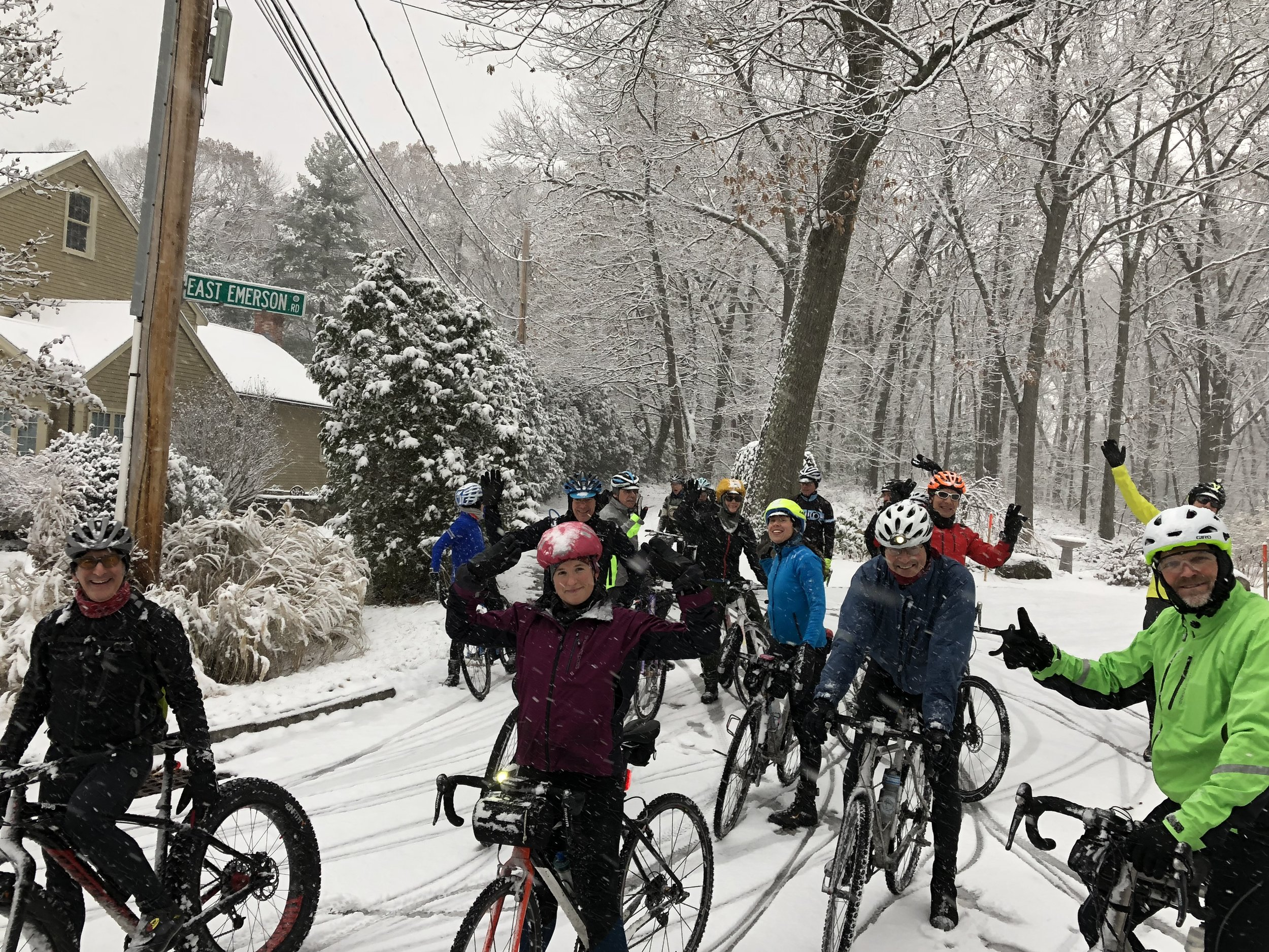 This was one of three groups and over 40 people who joined in on the First Snow Ride last year at Ride Studio. The first snow last year hit at 1pm on a Saturday. The previous year, the first snow was at 8am on a Monday morning - we still had a great group show up! The previous year to that, the inaugural year, we had ~17 riders join in at 3am in the morning for the First Snow and it was magical! Prepare now so you are ready when it hits!